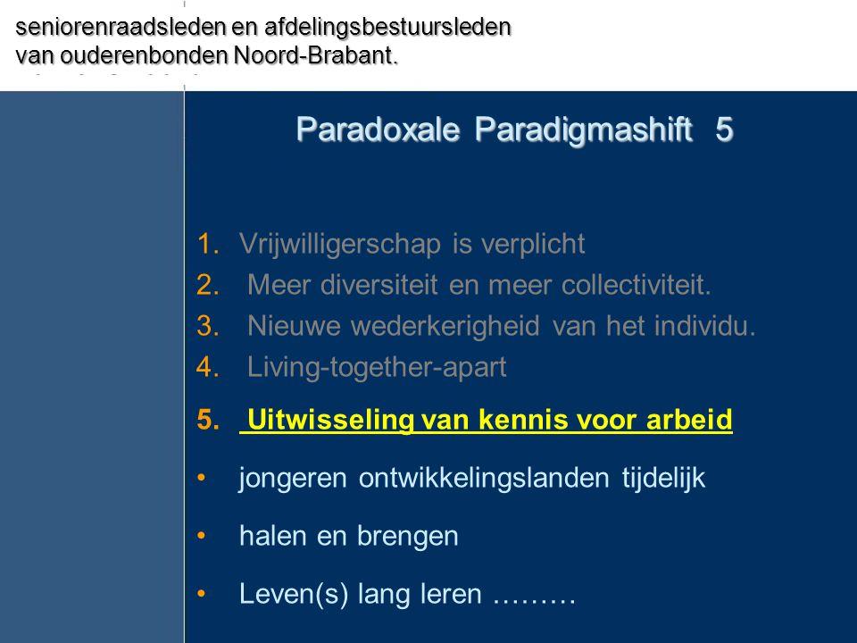 Paradoxale Paradigmashift 5 1.Vrijwilligerschap is verplicht 2. Meer diversiteit en meer collectiviteit. 3. Nieuwe wederkerigheid van het individu. 4.