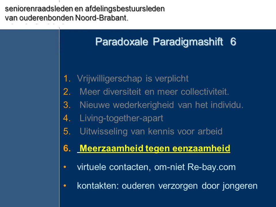 Paradoxale Paradigmashift 6 1.Vrijwilligerschap is verplicht 2. Meer diversiteit en meer collectiviteit. 3. Nieuwe wederkerigheid van het individu. 4.