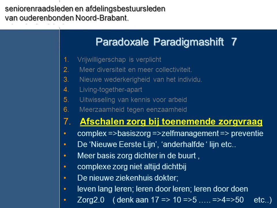 Paradoxale Paradigmashift 7 1.Vrijwilligerschap is verplicht 2. Meer diversiteit en meer collectiviteit. 3. Nieuwe wederkerigheid van het individu. 4.