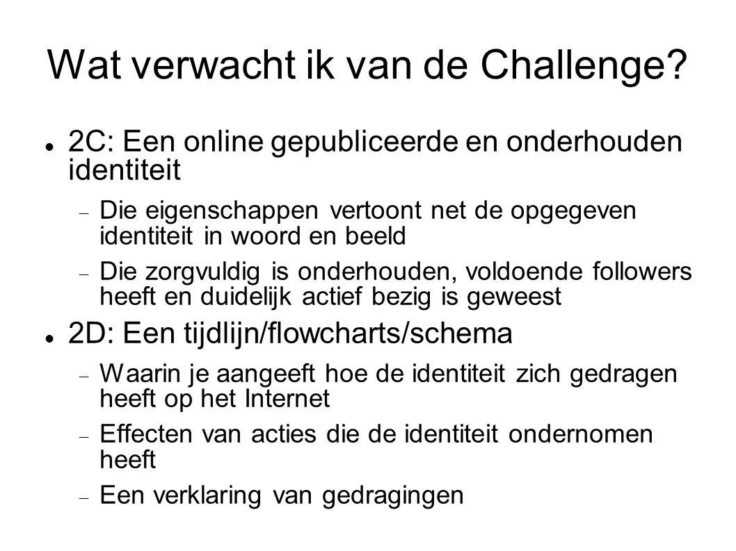 Wat verwacht ik van de Challenge?  2C: Een online gepubliceerde en onderhouden identiteit  Die eigenschappen vertoont net de opgegeven identiteit in