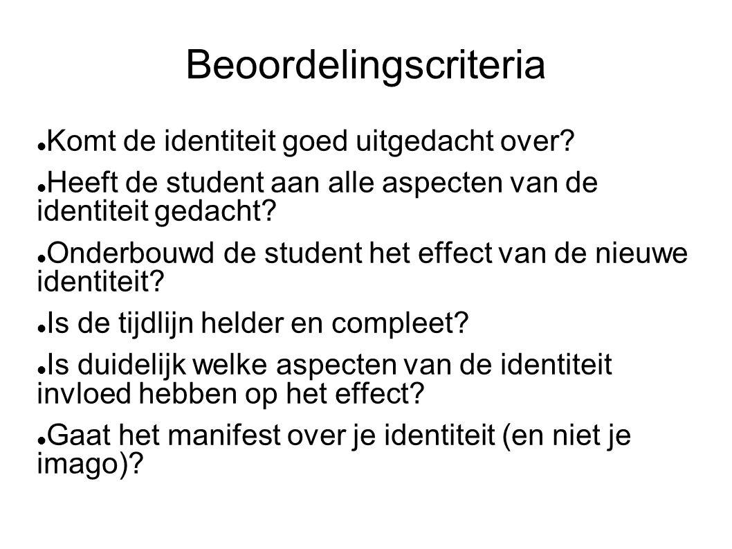 Beoordelingscriteria  Komt de identiteit goed uitgedacht over?  Heeft de student aan alle aspecten van de identiteit gedacht?  Onderbouwd de studen