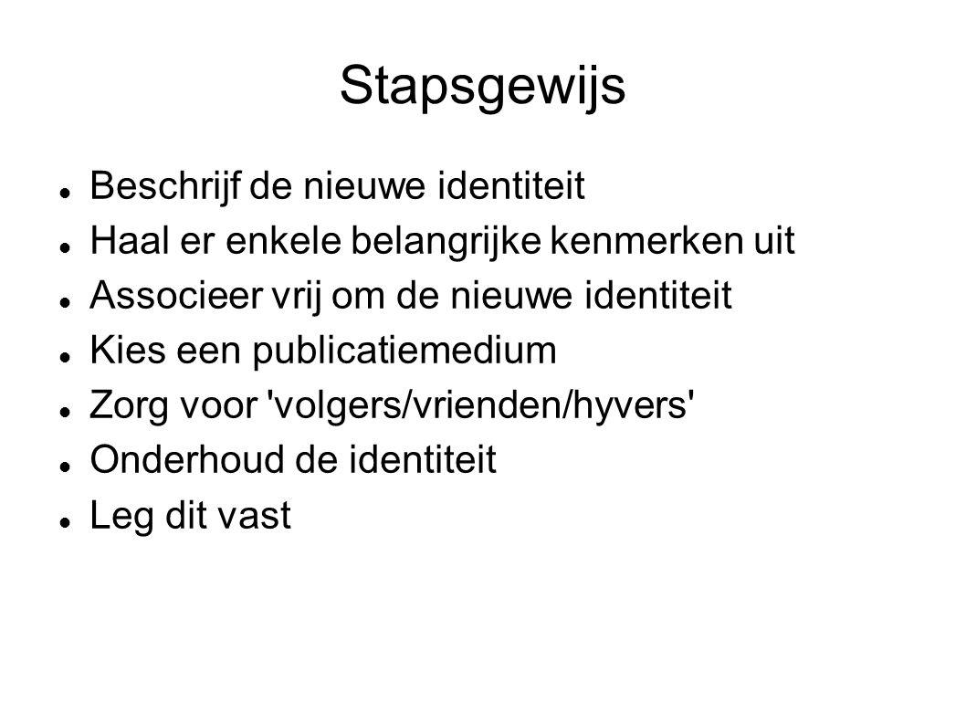 Stapsgewijs  Beschrijf de nieuwe identiteit  Haal er enkele belangrijke kenmerken uit  Associeer vrij om de nieuwe identiteit  Kies een publicatiemedium  Zorg voor volgers/vrienden/hyvers  Onderhoud de identiteit  Leg dit vast