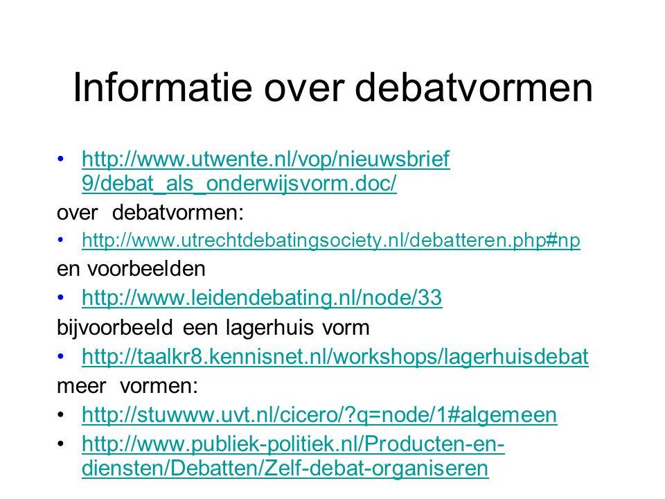 Informatie over debatvormen •http://www.utwente.nl/vop/nieuwsbrief 9/debat_als_onderwijsvorm.doc/http://www.utwente.nl/vop/nieuwsbrief 9/debat_als_ond