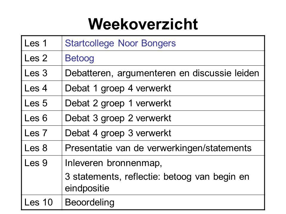 Weekoverzicht Les 1Startcollege Noor Bongers Les 2Betoog Les 3Debatteren, argumenteren en discussie leiden Les 4Debat 1 groep 4 verwerkt Les 5Debat 2