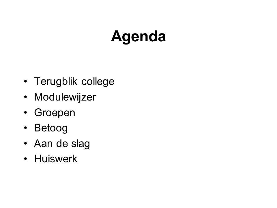 Agenda •Terugblik college •Modulewijzer •Groepen •Betoog •Aan de slag •Huiswerk