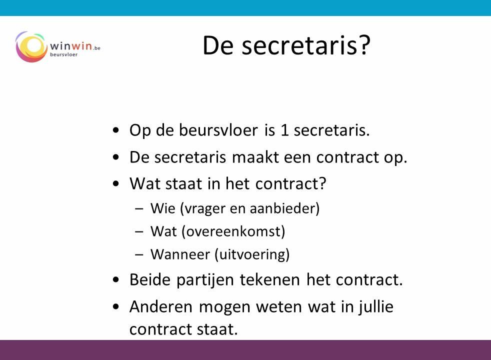 De secretaris? •Op de beursvloer is 1 secretaris. •De secretaris maakt een contract op. •Wat staat in het contract? –Wie (vrager en aanbieder) –Wat (o
