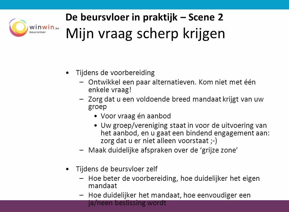 De beursvloer in praktijk – Scene 2 Mijn vraag scherp krijgen •Tijdens de voorbereiding –Ontwikkel een paar alternatieven.