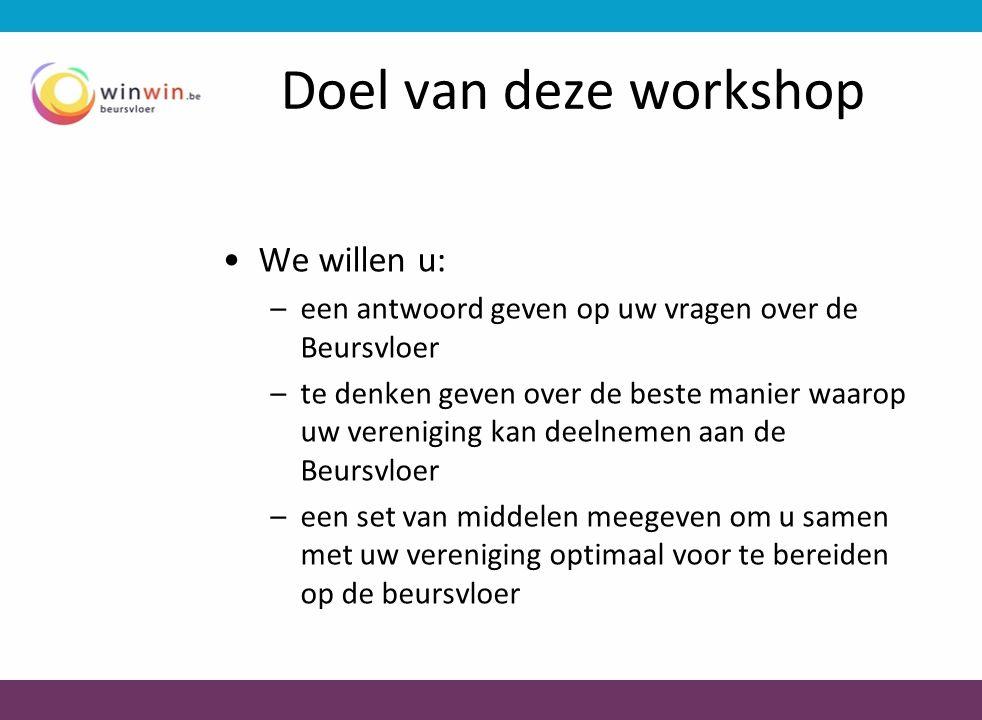 Doel van deze workshop •We willen u: –een antwoord geven op uw vragen over de Beursvloer –te denken geven over de beste manier waarop uw vereniging ka