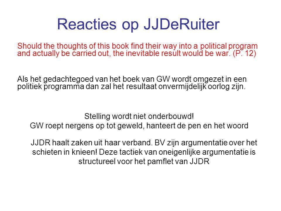 Reacties op JJDeRuiter Wilders does not juxtapose his truth with Islam's truth.