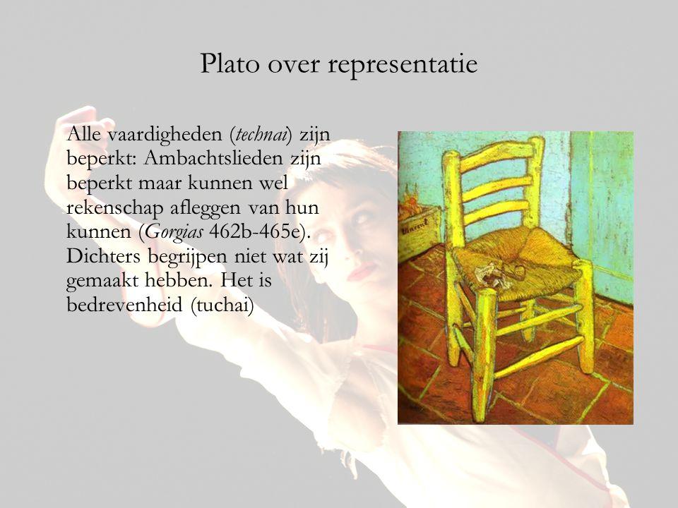 Plato over representatie Alle vaardigheden (technai) zijn beperkt: Ambachtslieden zijn beperkt maar kunnen wel rekenschap afleggen van hun kunnen (Gor