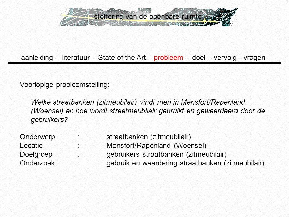 stoffering van de openbare ruimte Voorlopige probleemstelling: Welke straatbanken (zitmeubilair) vindt men in Mensfort/Rapenland (Woensel) en hoe word