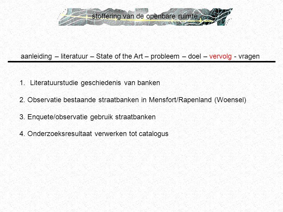stoffering van de openbare ruimte 1.Literatuurstudie geschiedenis van banken 2. Observatie bestaande straatbanken in Mensfort/Rapenland (Woensel) 3. E