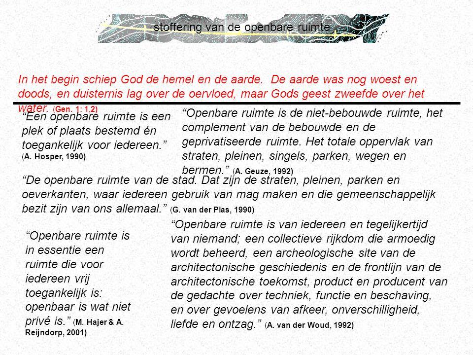 stoffering van de openbare ruimte In het begin schiep God de hemel en de aarde. De aarde was nog woest en doods, en duisternis lag over de oervloed, m