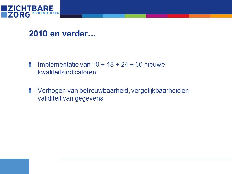 2010 en verder… Implementatie van 10 + 18 + 24 + 30 nieuwe kwaliteitsindicatoren Verhogen van betrouwbaarheid, vergelijkbaarheid en validiteit van gegevens