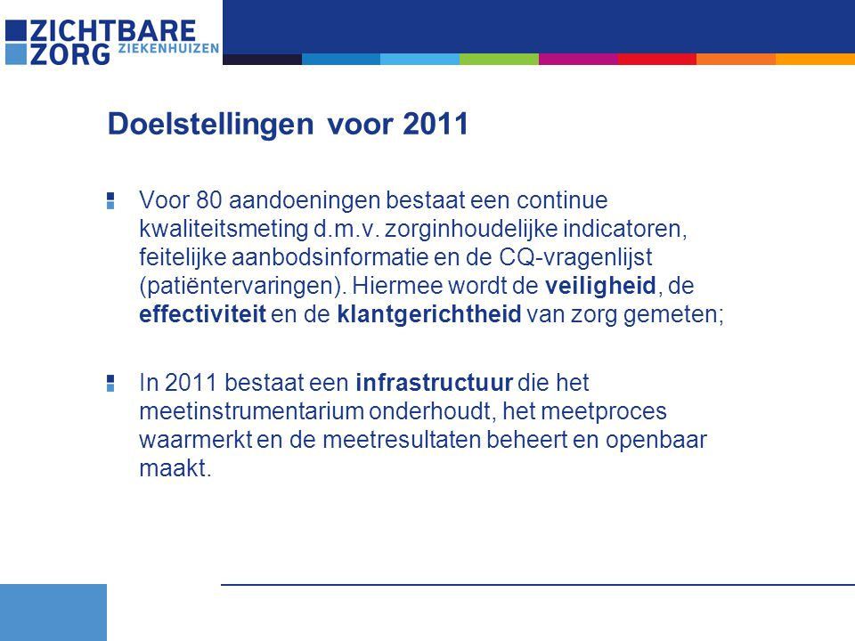 Doelstellingen voor 2011 Voor 80 aandoeningen bestaat een continue kwaliteitsmeting d.m.v. zorginhoudelijke indicatoren, feitelijke aanbodsinformatie