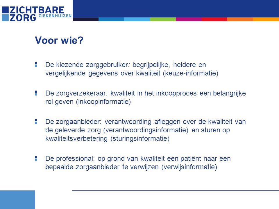 Voor wie? De kiezende zorggebruiker: begrijpelijke, heldere en vergelijkende gegevens over kwaliteit (keuze-informatie) De zorgverzekeraar: kwaliteit