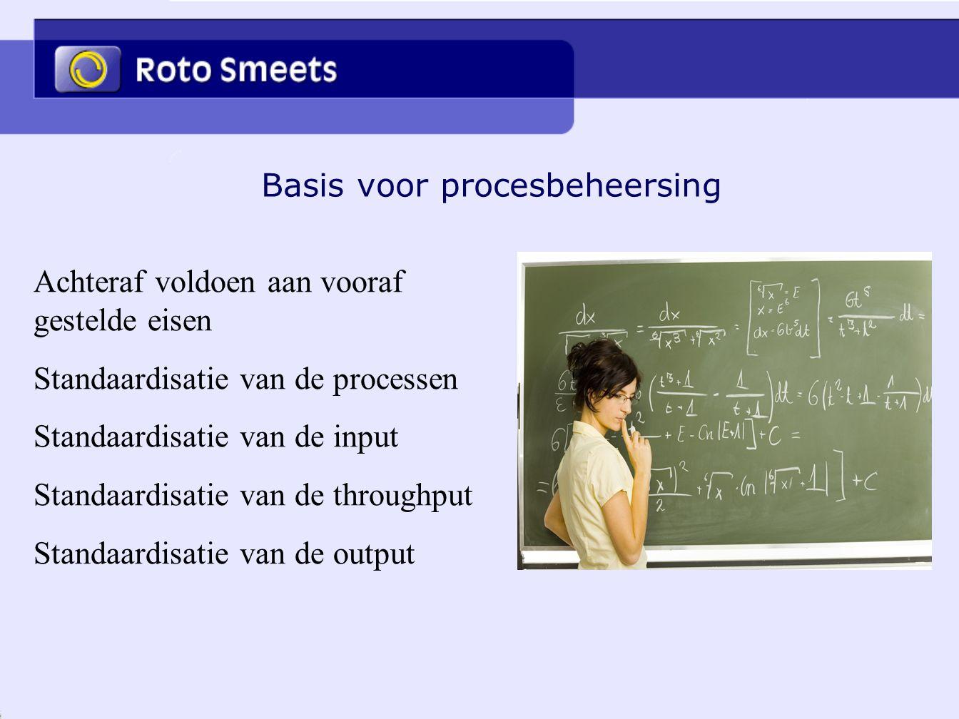Basis voor procesbeheersing Achteraf voldoen aan vooraf gestelde eisen Standaardisatie van de processen Standaardisatie van de input Standaardisatie v