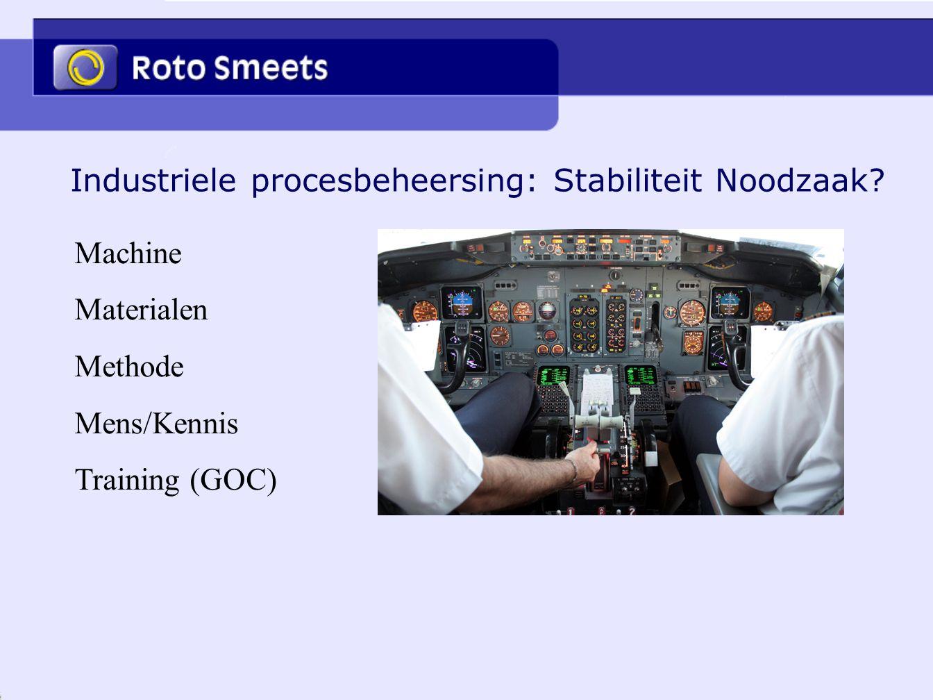 Industriele procesbeheersing: Stabiliteit Noodzaak? Machine Materialen Methode Mens/Kennis Training (GOC)