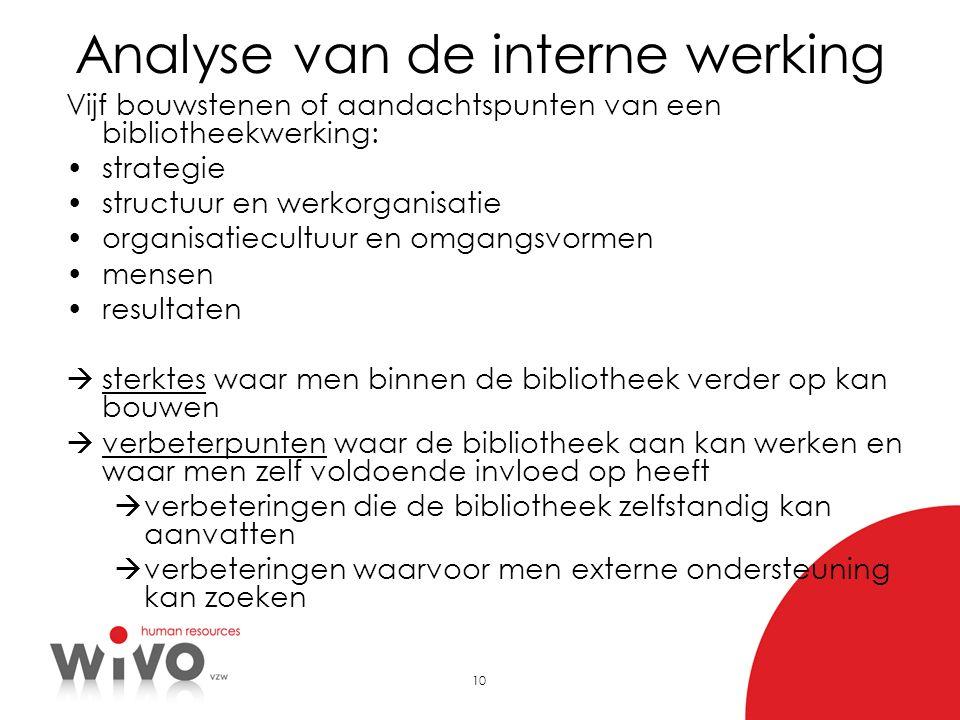 10 Analyse van de interne werking Vijf bouwstenen of aandachtspunten van een bibliotheekwerking: •strategie •structuur en werkorganisatie •organisatie