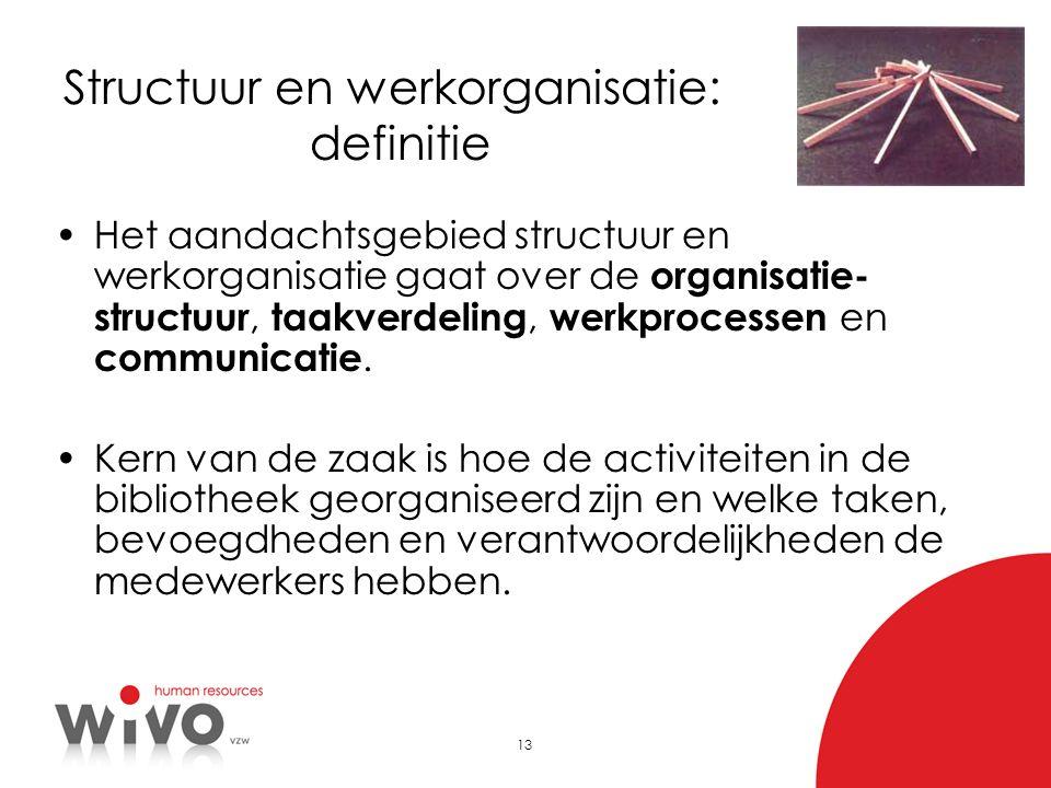 13 Structuur en werkorganisatie: definitie •Het aandachtsgebied structuur en werkorganisatie gaat over de organisatie- structuur, taakverdeling, werkp