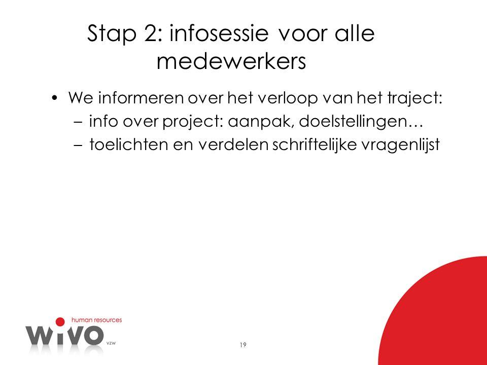 19 Stap 2: infosessie voor alle medewerkers •We informeren over het verloop van het traject: –info over project: aanpak, doelstellingen… –toelichten e