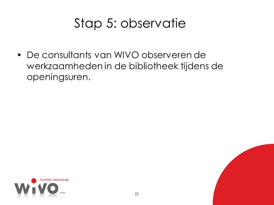 22 Stap 5: observatie •De consultants van WIVO observeren de werkzaamheden in de bibliotheek tijdens de openingsuren.