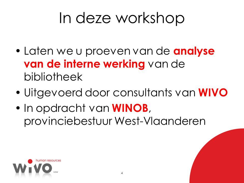4 In deze workshop •Laten we u proeven van de analyse van de interne werking van de bibliotheek •Uitgevoerd door consultants van WIVO •In opdracht van