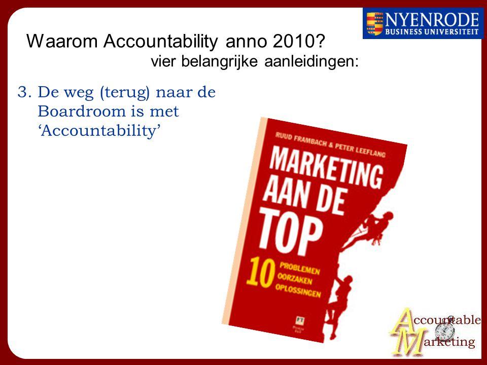 Waarom Accountability anno 2010? 3.De weg (terug) naar de Boardroom is met 'Accountability' vier belangrijke aanleidingen: