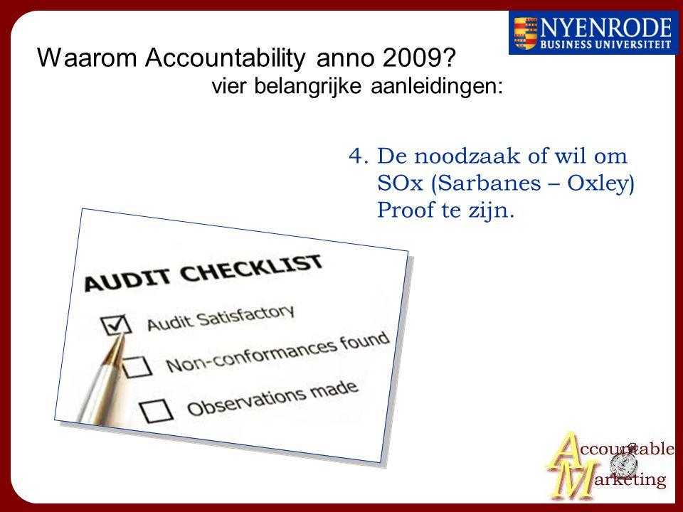 Waarom Accountability anno 2009? 4.De noodzaak of wil om SOx (Sarbanes – Oxley) Proof te zijn. vier belangrijke aanleidingen: