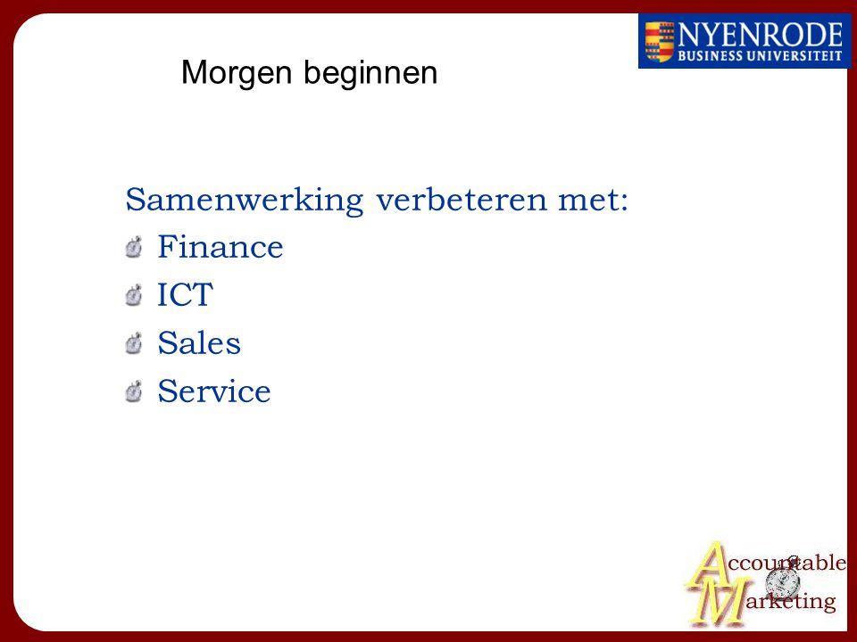 Morgen beginnen Samenwerking verbeteren met: Finance ICT Sales Service