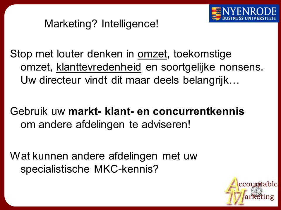 Marketing? Intelligence! Stop met louter denken in omzet, toekomstige omzet, klanttevredenheid en soortgelijke nonsens. Uw directeur vindt dit maar de