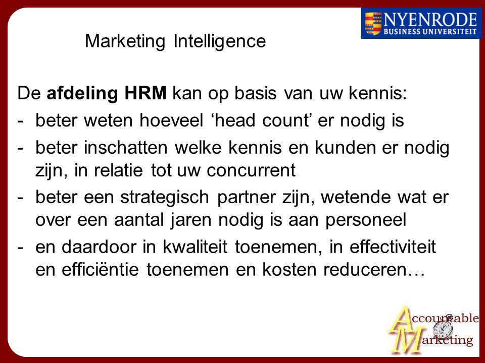Marketing Intelligence De afdeling HRM kan op basis van uw kennis: -beter weten hoeveel 'head count' er nodig is -beter inschatten welke kennis en kunden er nodig zijn, in relatie tot uw concurrent -beter een strategisch partner zijn, wetende wat er over een aantal jaren nodig is aan personeel -en daardoor in kwaliteit toenemen, in effectiviteit en efficiëntie toenemen en kosten reduceren…