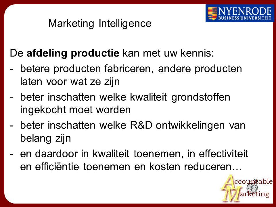Marketing Intelligence De afdeling productie kan met uw kennis: -betere producten fabriceren, andere producten laten voor wat ze zijn -beter inschatten welke kwaliteit grondstoffen ingekocht moet worden -beter inschatten welke R&D ontwikkelingen van belang zijn -en daardoor in kwaliteit toenemen, in effectiviteit en efficiëntie toenemen en kosten reduceren…