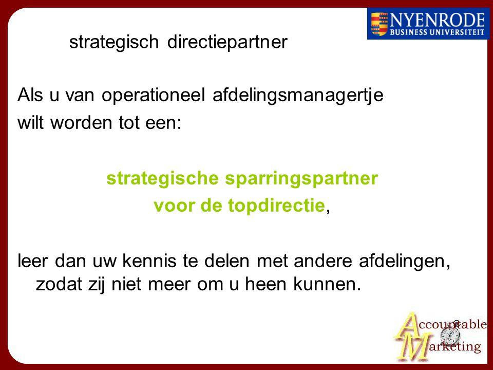 strategisch directiepartner Als u van operationeel afdelingsmanagertje wilt worden tot een: strategische sparringspartner voor de topdirectie, leer dan uw kennis te delen met andere afdelingen, zodat zij niet meer om u heen kunnen.