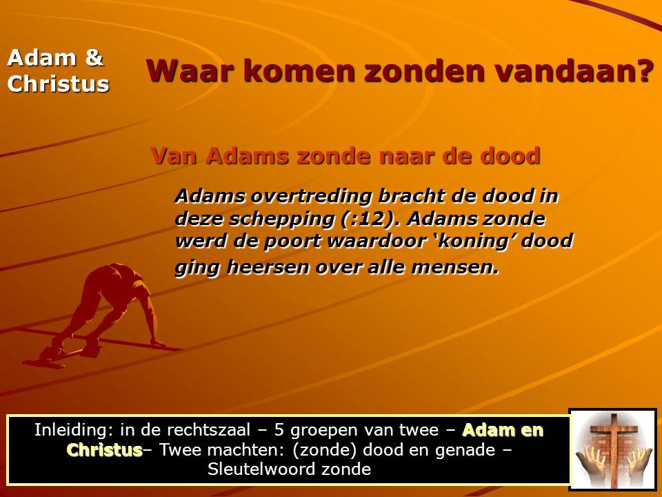 Adam & Christus Van Adams zonde naar de dood Adams overtreding bracht de dood in deze schepping (:12). Adams zonde werd de poort waardoor 'koning' doo