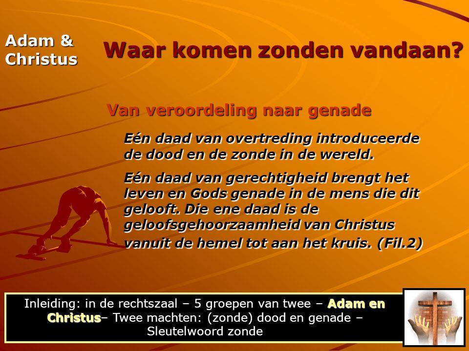 Adam & Christus Van veroordeling naar genade Eén daad van overtreding introduceerde de dood en de zonde in de wereld. Eén daad van gerechtigheid breng