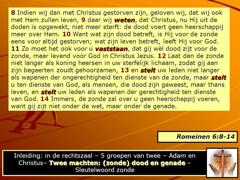 weten vaststaan stelt stelt stelt 8 Indien wij dan met Christus gestorven zijn, geloven wij, dat wij ook met Hem zullen leven, 9 daar wij weten, dat C