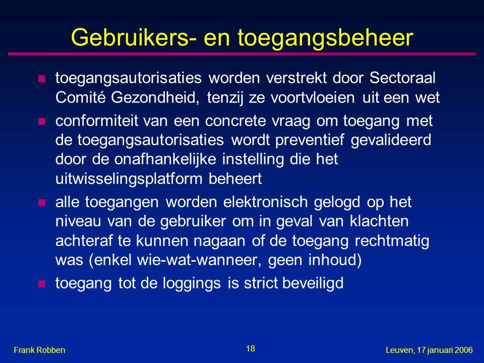 18 Leuven, 17 januari 2006Frank Robben Gebruikers- en toegangsbeheer n toegangsautorisaties worden verstrekt door Sectoraal Comité Gezondheid, tenzij ze voortvloeien uit een wet n conformiteit van een concrete vraag om toegang met de toegangsautorisaties wordt preventief gevalideerd door de onafhankelijke instelling die het uitwisselingsplatform beheert n alle toegangen worden elektronisch gelogd op het niveau van de gebruiker om in geval van klachten achteraf te kunnen nagaan of de toegang rechtmatig was (enkel wie-wat-wanneer, geen inhoud) n toegang tot de loggings is strict beveiligd