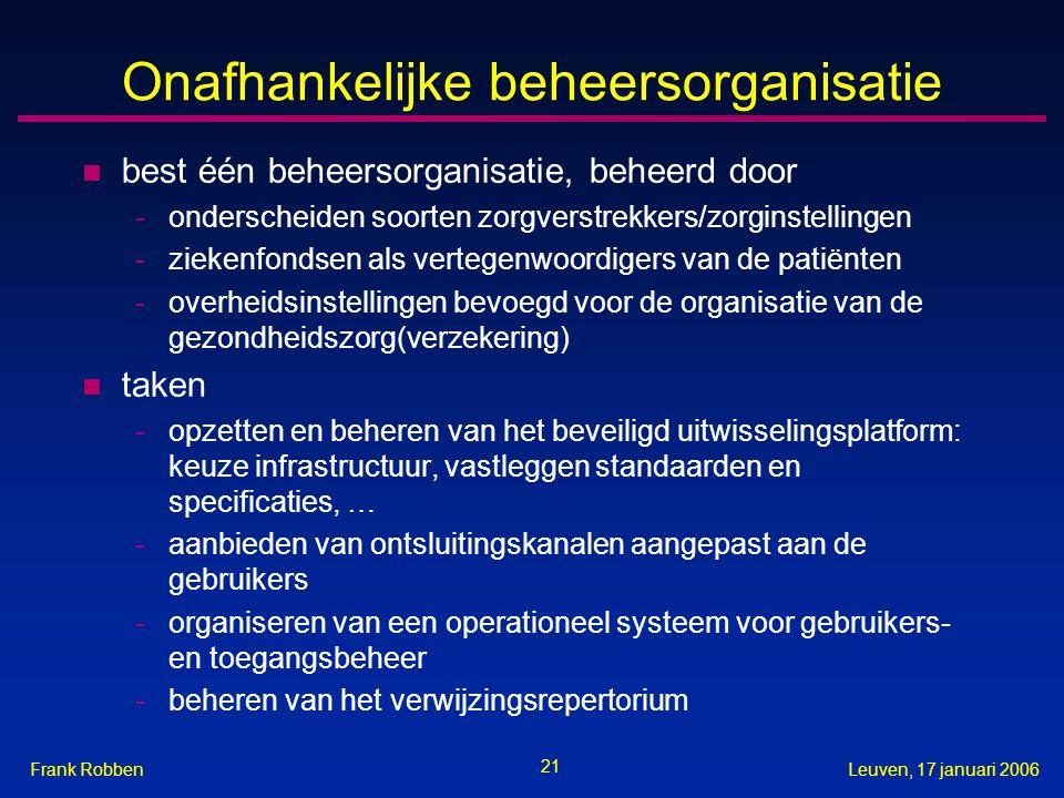 21 Leuven, 17 januari 2006Frank Robben Onafhankelijke beheersorganisatie n best één beheersorganisatie, beheerd door -onderscheiden soorten zorgverstrekkers/zorginstellingen -ziekenfondsen als vertegenwoordigers van de patiënten -overheidsinstellingen bevoegd voor de organisatie van de gezondheidszorg(verzekering) n taken -opzetten en beheren van het beveiligd uitwisselingsplatform: keuze infrastructuur, vastleggen standaarden en specificaties, … -aanbieden van ontsluitingskanalen aangepast aan de gebruikers -organiseren van een operationeel systeem voor gebruikers- en toegangsbeheer -beheren van het verwijzingsrepertorium