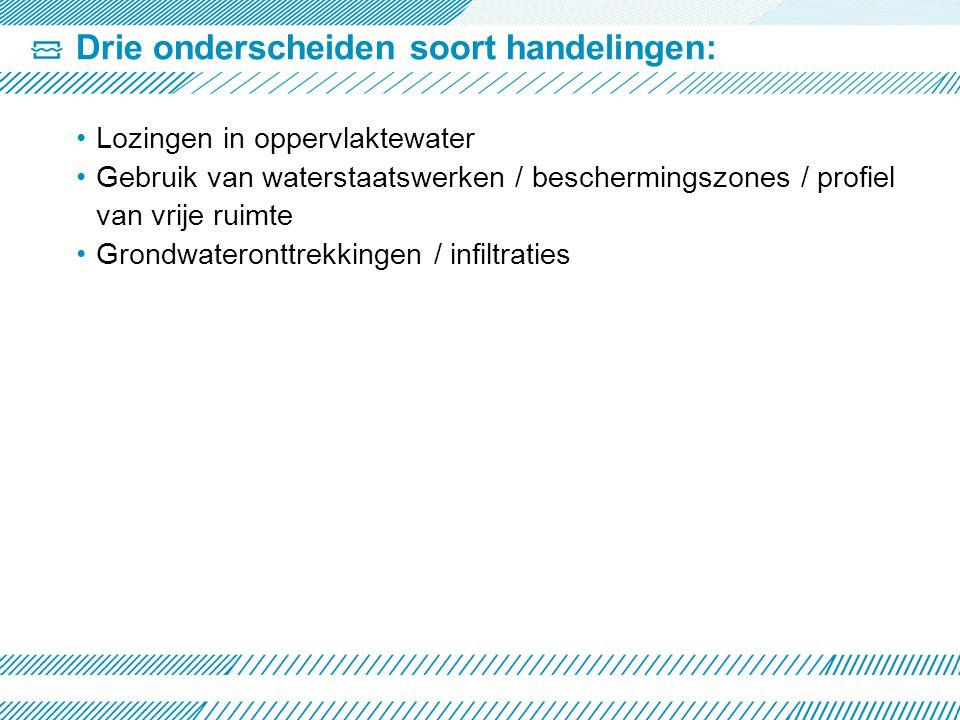 Drie onderscheiden soort handelingen: •Lozingen in oppervlaktewater •Gebruik van waterstaatswerken / beschermingszones / profiel van vrije ruimte •Grondwateronttrekkingen / infiltraties