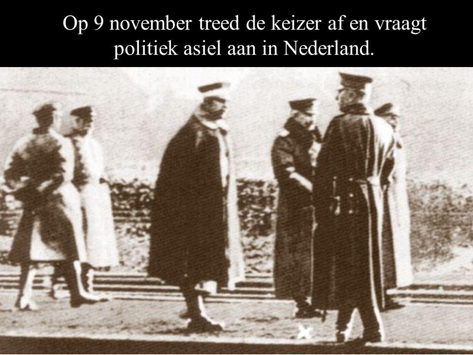 Op 9 november treed de keizer af en vraagt politiek asiel aan in Nederland.