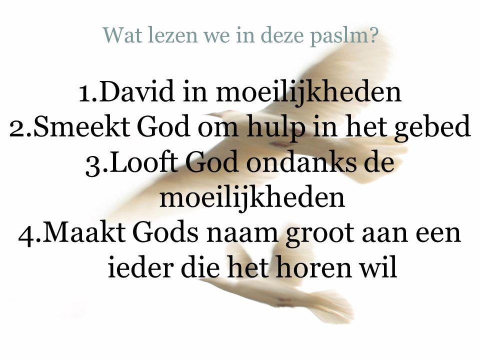 Wat lezen we in deze paslm? 1.David in moeilijkheden 2.Smeekt God om hulp in het gebed 3.Looft God ondanks de moeilijkheden 4.Maakt Gods naam groot aa