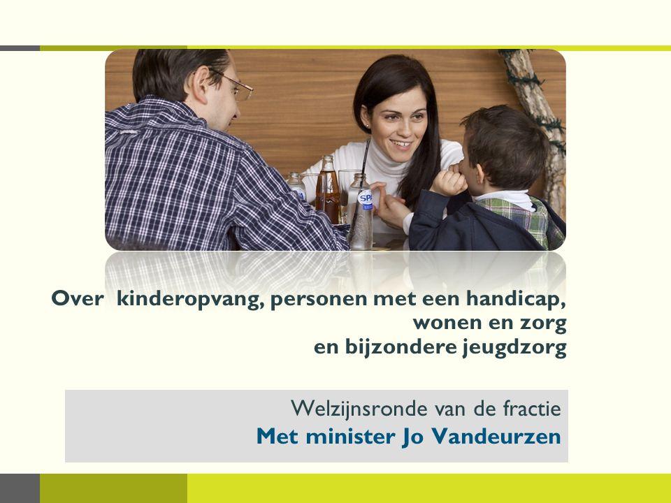 Welzijnsronde april - juni 2010Over kinderopvang, personen met een handicap, wonen en zorg en bijzondere jeugdzorg 32 Wonen en Zorg Vlaanderen  Invulling dagverzorgingscentra