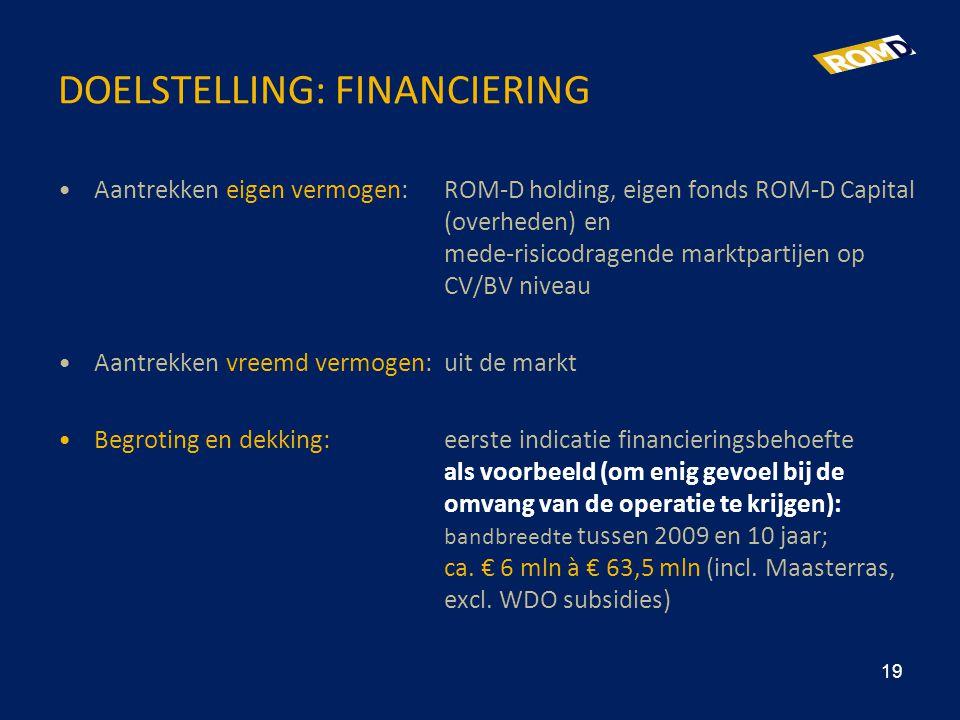 DOELSTELLING: FINANCIERING •Aantrekken eigen vermogen:ROM-D holding, eigen fonds ROM-D Capital (overheden) en mede-risicodragende marktpartijen op CV/