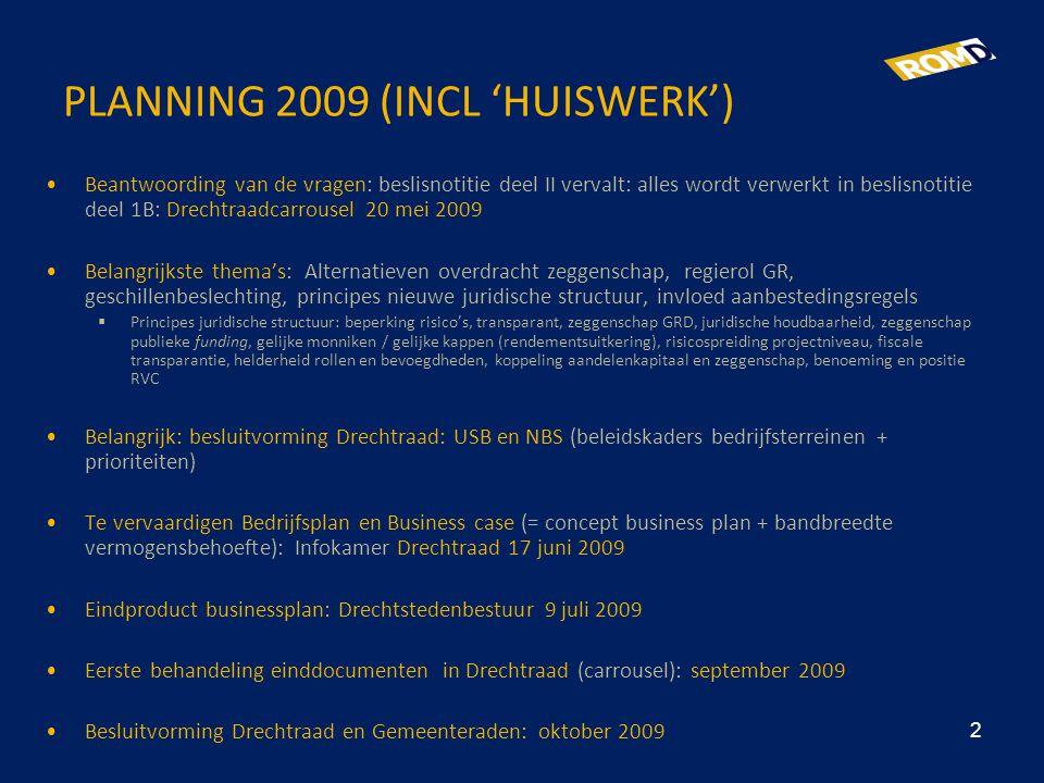 PLANNING 2009 (INCL 'HUISWERK') •Beantwoording van de vragen: beslisnotitie deel II vervalt: alles wordt verwerkt in beslisnotitie deel 1B: Drechtraad