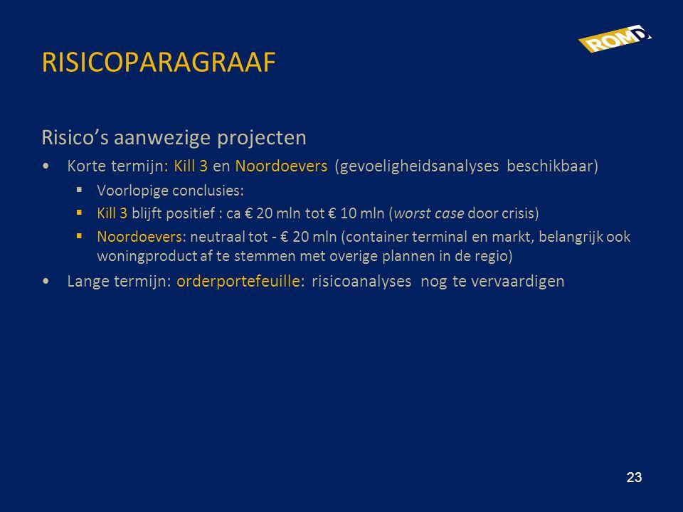 RISICOPARAGRAAF Risico's aanwezige projecten •Korte termijn: Kill 3 en Noordoevers (gevoeligheidsanalyses beschikbaar)  Voorlopige conclusies:  Kill