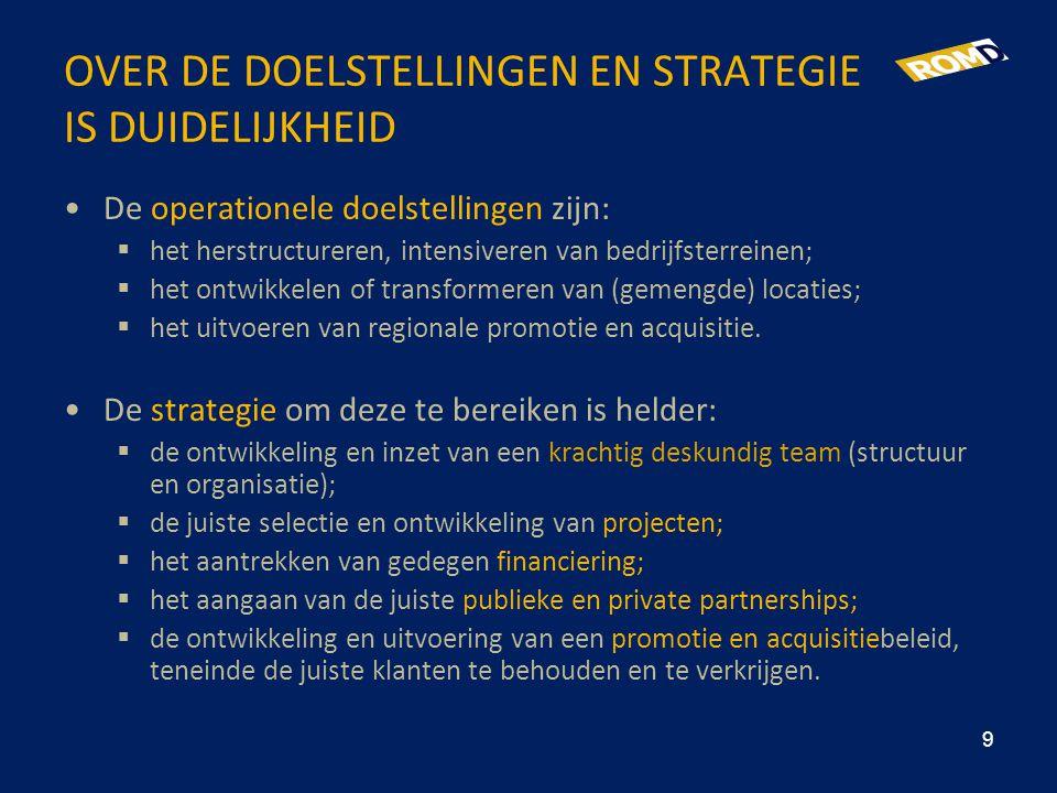 OVER DE DOELSTELLINGEN EN STRATEGIE IS DUIDELIJKHEID •De operationele doelstellingen zijn:  het herstructureren, intensiveren van bedrijfsterreinen;