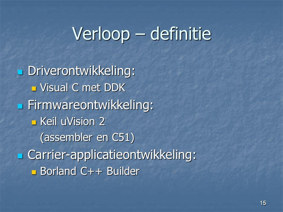 15 Verloop – definitie  Driverontwikkeling:  Visual C met DDK  Firmwareontwikkeling:  Keil uVision 2 (assembler en C51)  Carrier-applicatieontwikkeling:  Borland C++ Builder