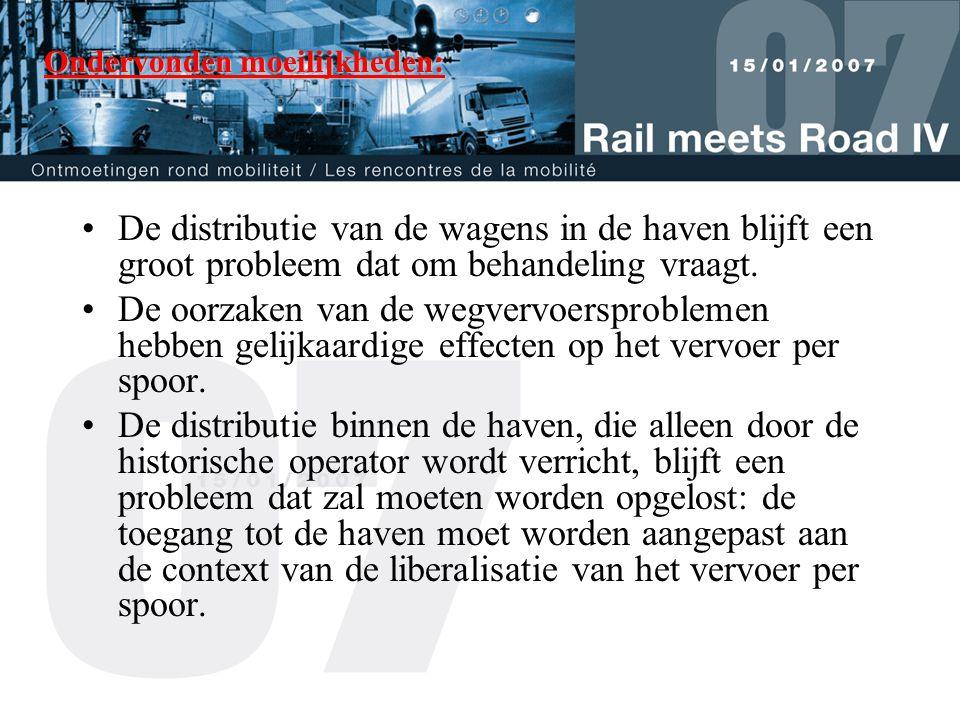 Ondervonden moeilijkheden: •De distributie van de wagens in de haven blijft een groot probleem dat om behandeling vraagt.