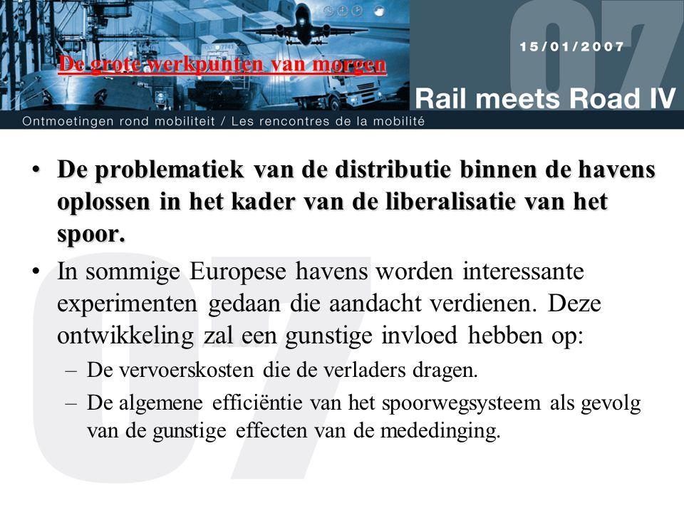 De grote werkpunten van morgen •De problematiek van de distributie binnen de havens oplossen in het kader van de liberalisatie van het spoor.